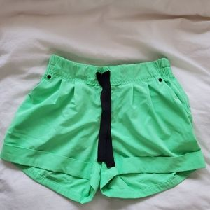 Neon green Lululemon spring break away shorts